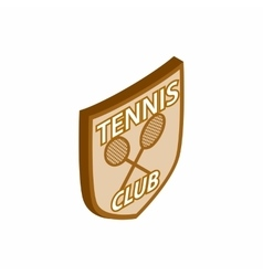Tennis club shield icon isometric 3d style vector