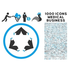 Tent Camp Icon with 1000 Medical Business vector
