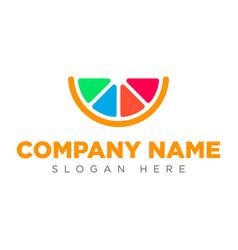 the art lemon icon logo the art orange icon logo vector image