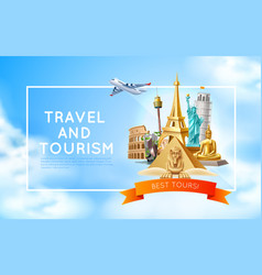 travelling and tourism poster design 3d vector image