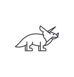 triceratops line icon sign vector image