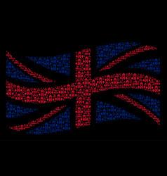 Waving great britain flag mosaic of clock tower vector