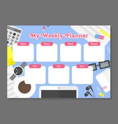 Weekly planner template vector