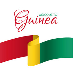 welcome to guinea card with flag guinea vector image