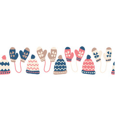 winter hats and mittens seamless border vector image