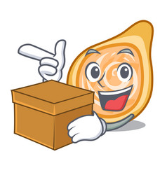 With box snacks coxinha on a character plates vector