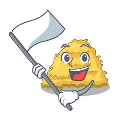 With flag hay bale mascot cartoon vector