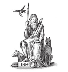 Woden or odin germanic and norse god seated vector