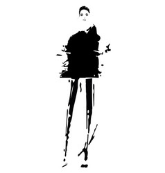 Woman in a oversize dress fashion models sketch vector