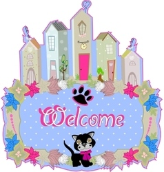 baby cat hold a welcome sign vector image vector image