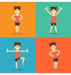 Fitness girl doing exercise set vector image