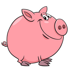 funny pig character cartoon vector image vector image
