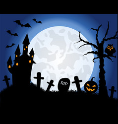 halloween symbols on the background of the moon vector image