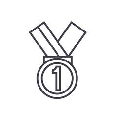 medal first place line icon sign vector image vector image