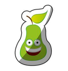 colorful kawaii fruit pear happy icon vector image