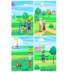 people relaxing in summer park posters collection vector image vector image