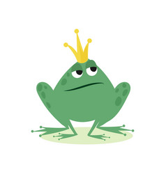 prince frog in golden crown fairy tale character vector image