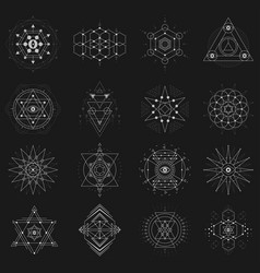 sacred geometry set on black background vector image