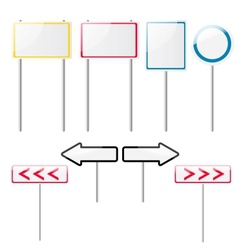 Set of eight glossy road signs vector image vector image