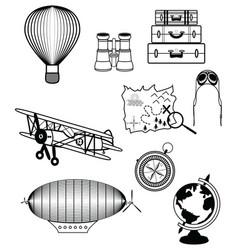Vinatge travel components vector image vector image