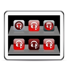 Call center red app icons vector image vector image