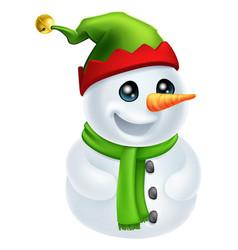christmas snowman in elf hat vector image vector image