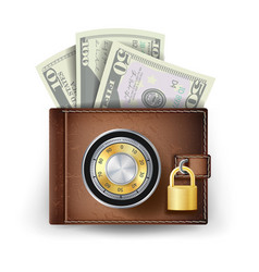 classic leather wallet locked with vector image vector image