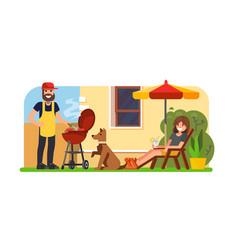 couple having a bbq on backyard vector image