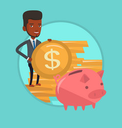 man putting coin in piggy bank vector image