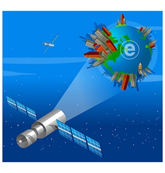Satellite focusing On Earth vector image vector image