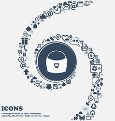 woman hand bag icon in the center Around the many vector image