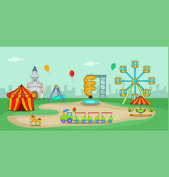 Amusement park horizontal banner cartoon style vector