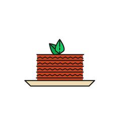 cake slice food thin line icon vector image