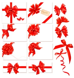 collection of red bows with ribbons vector image