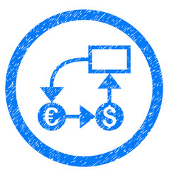 currency flow chart rounded icon rubber stamp vector image vector image