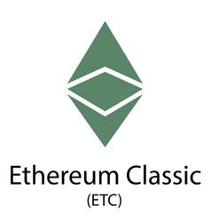 Ethereum classic cryptocurrency symbol vector