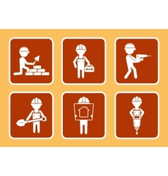 set construction icons with builders man vector image vector image
