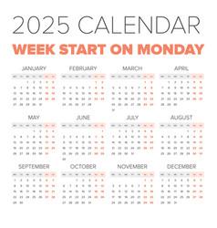 simple 2025 year calendar vector image