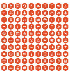 100 summer holidays icons hexagon orange vector image vector image