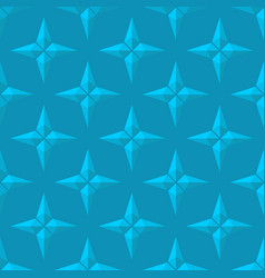3d blue four pointed stars seamless pattern vector image