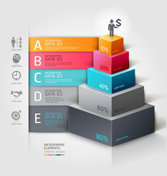 3d business staircase diagram infographics vector