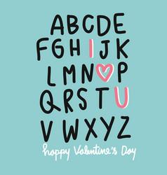 A b c i love u happy valentines day vector