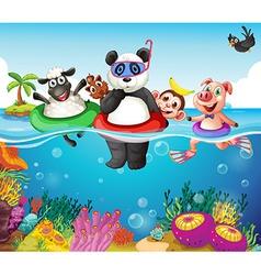 Animals and ocean vector