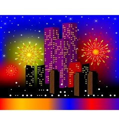 Background townhouses with festive firework in the vector