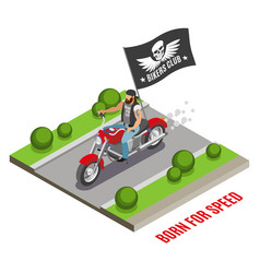 Biker isometric composition vector