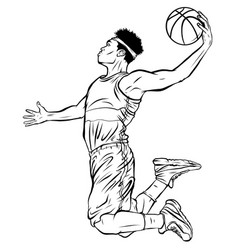 Black male basketball player jumping to shoot the vector