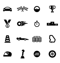 black racing icon set vector image