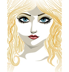 Blond girl with blue eyes vector image