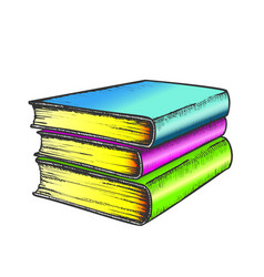 book stack study literature color vector image