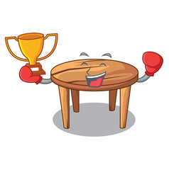 boxing winner wooden table isolated on the mascot vector image